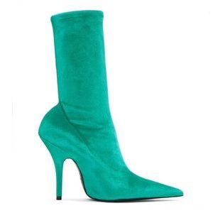 Shoes - Velvet Stretch Pointy Toe Knife Sock Boot